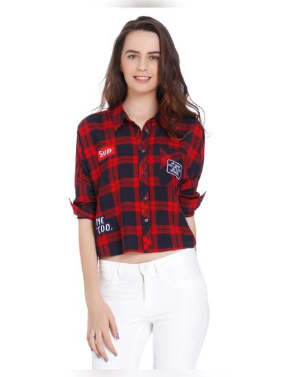 Red Badge Print Check Shirt