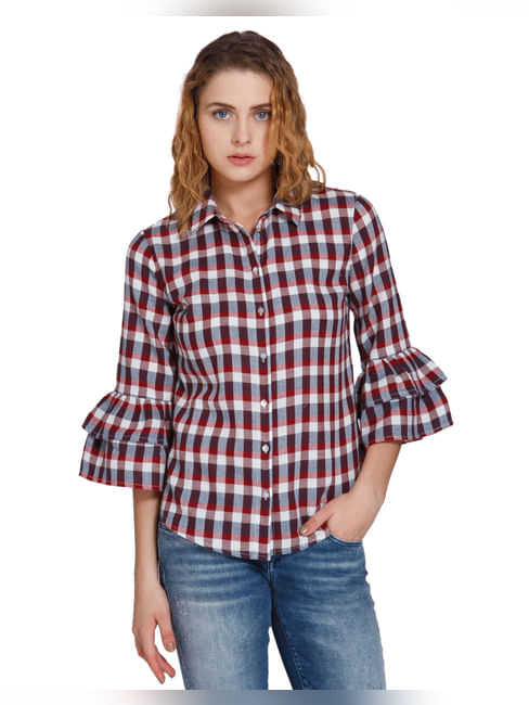 Red Ruffle Tiered Sleeves Check Shirt