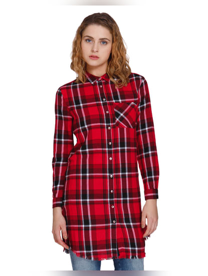 Red Long Check Shirt