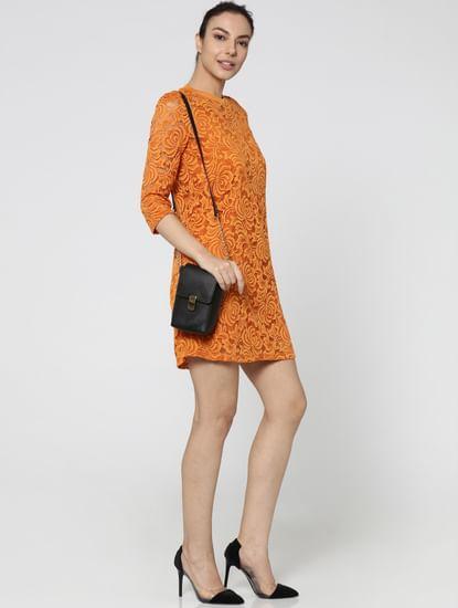 Orange Lace Circular Knit Fit & Flare Dress