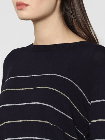 Black Shimmery Striped Pullover