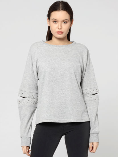 Grey Open Elbow Studded Sweatshirt