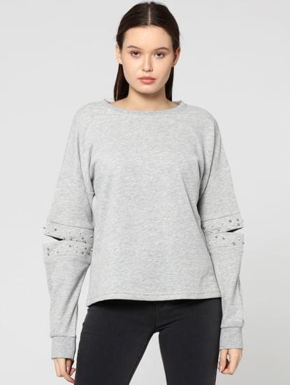 Grey Open Elbow Studded Sweatshirt