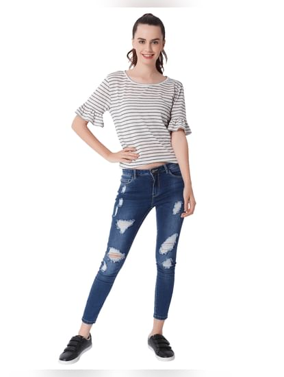 Off White Ruffle Sleeves Striped T-Shirt