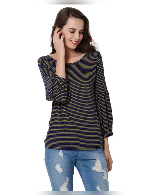 Blue Striped Tube Sleeves Top