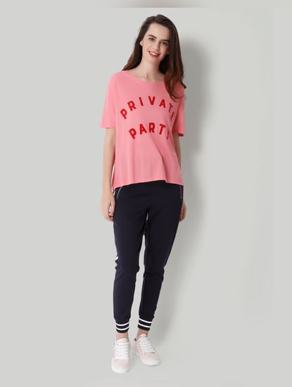 Pink Private Party Print T-Shirt