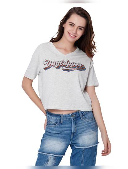 Light Grey Text Print V-Neck T-Shirt
