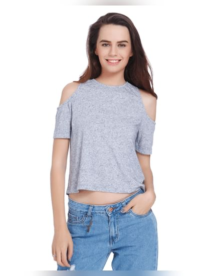 Powder Blue Cold Shoulder Crop Top