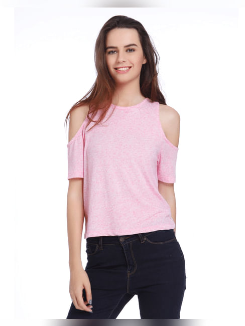 Pink Cold Shoulder Crop Top