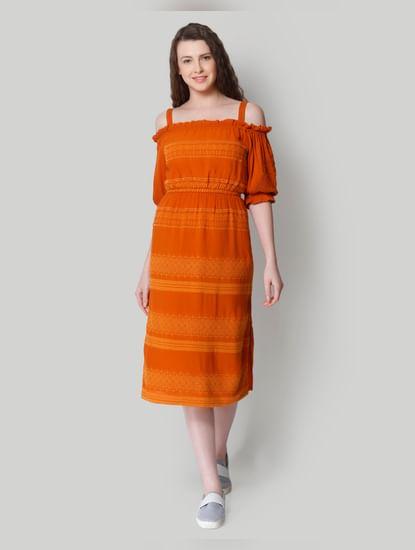 Orange Self Design Cold Shoulder Midi Dress