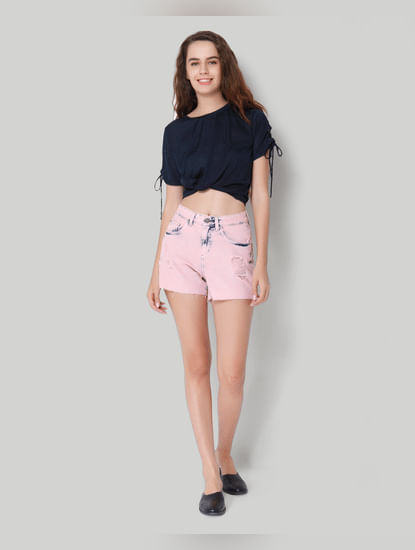 Pink Mid Waist Distressed Shorts