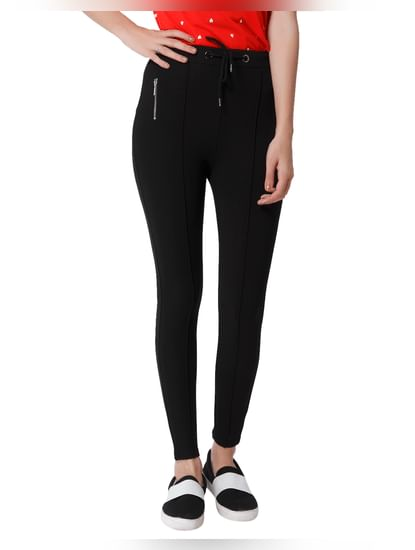 Black Drawstring Mid Rise Skinny Fit Leggings