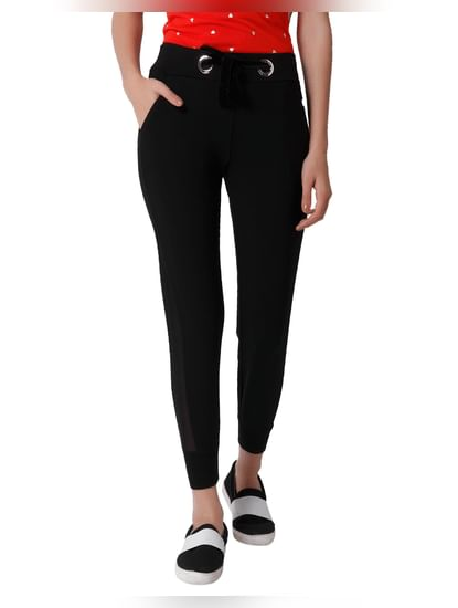 Black Mesh Detail Mid Rise Slim Fit Leggings