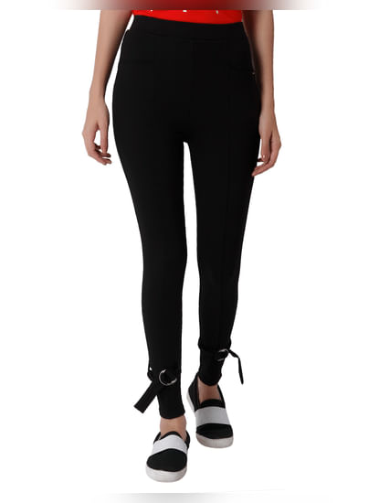 Black Buckle Detail Slim Fit Leggings