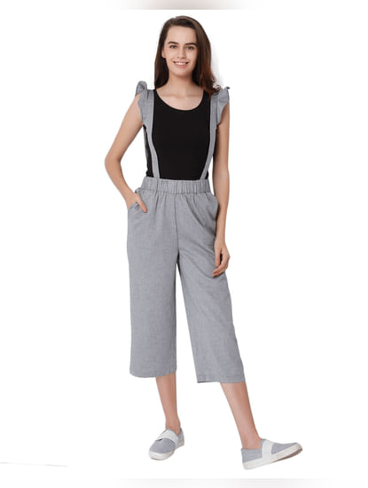 Light Grey Suspenders Mid Rise Pants
