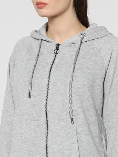 Grey Studded Hoodie Front Zip Sweatshirt