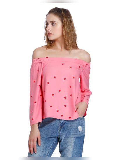 Pink Heart Print Off Shoulder Top