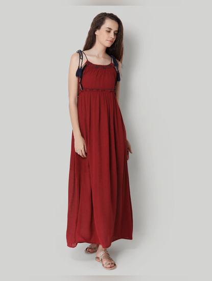 Red Strap Maxi Dress