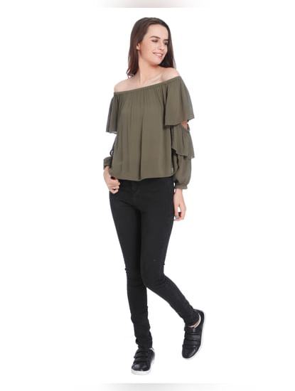 Olive Green Off Shoulder Tiered Sleeves Top