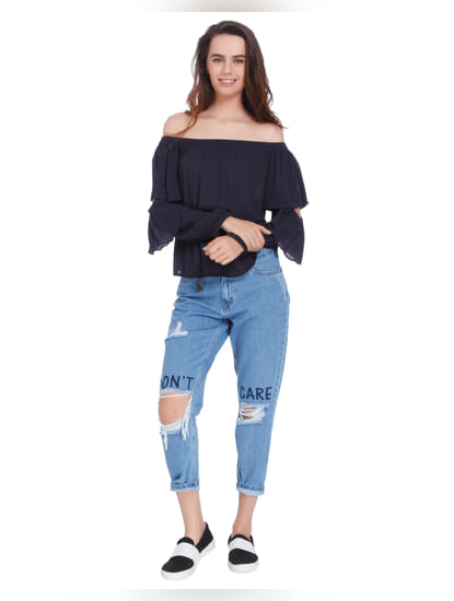 Dark Blue Off Shoulder Tiered Sleeves Top
