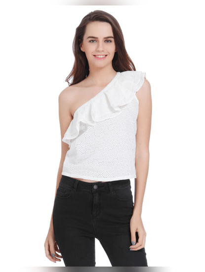 White One Shoulder Frill Detail Top