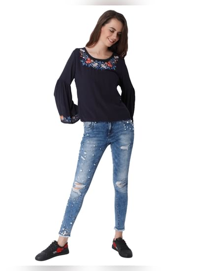 Dark Blue Embroidered Top