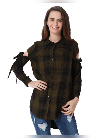 Olive Green Cut Away Sleeves Check Shirt