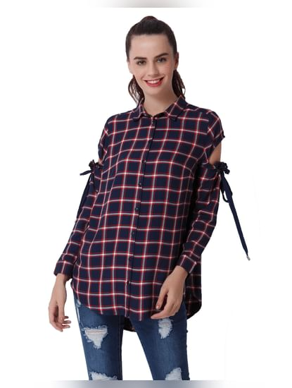 Dark Blue Cut Away Sleeves Check Shirt