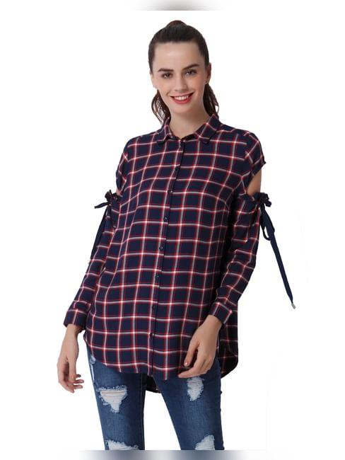 Dark Blue Cut Away Sleeves Check Shirt