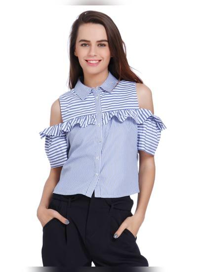 Blue Striped Cold Shoulder Frill Detail Shirt