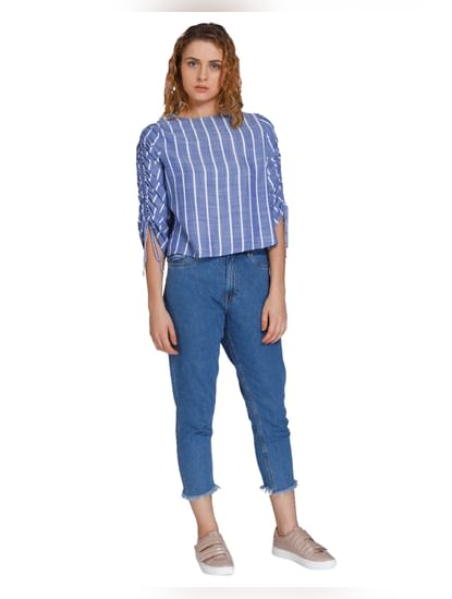 Blue Striped Ruched Sleeves Top