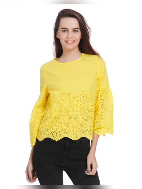 Bright Yellow Cut Work Detail Flared Sleeves Top