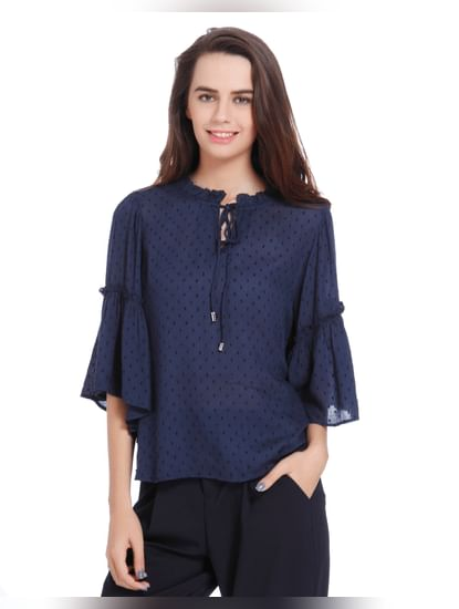 Dark Blue Dobby Weave Flared Sleeves Top
