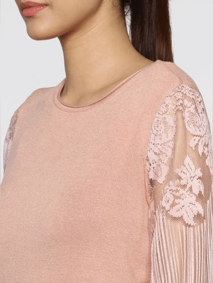 Pink Floral Print Lace Sleeves Pullover