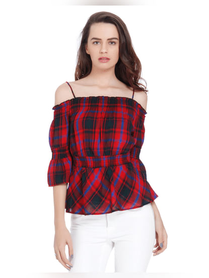 Red Off Shoulder Cinched Waist Check Top