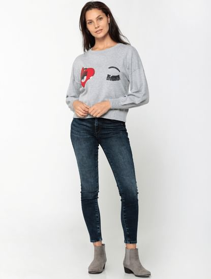 Grey Embroidered Long Sleeves Flat Knit Pullover