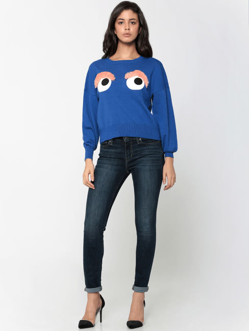 Blue Embroidered Long Sleeves Flat Knit Pullover
