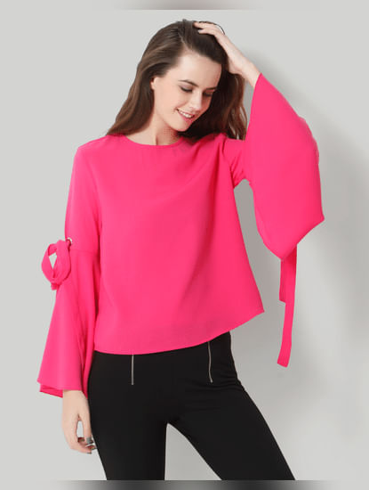 Pink Flared Sleeves Top