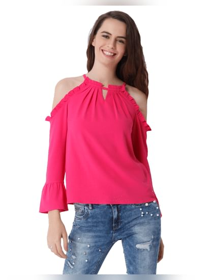 Pink Cold Shoulder Frill Detail Top