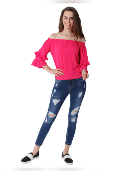 Pink Off Shoulder Tiered Sleeves Top
