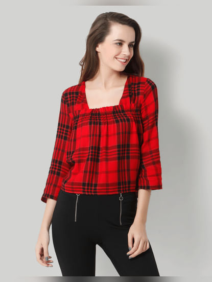 Red Check Top