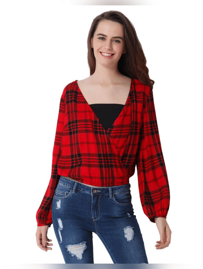 Red Check Wrap Top