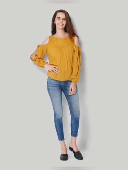 Mustard Lace Detail Cold Shoulder Top