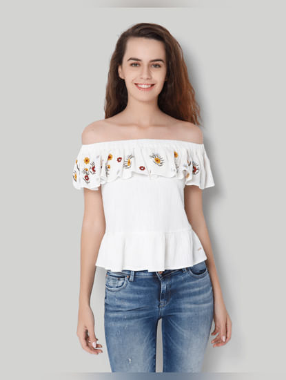 White Off Shoulder Embroidered Top