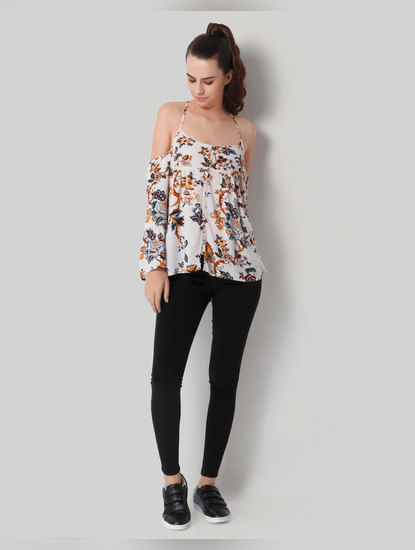Off White Printed Cold Shoulder Top