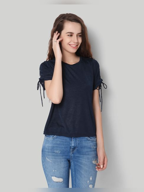Dark Blue Tie Up Rivets Short Sleeve Top