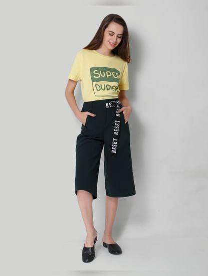 Dark Green Cropped Wide Leg Pants
