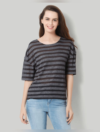 Dark Grey Striped T-Shirt