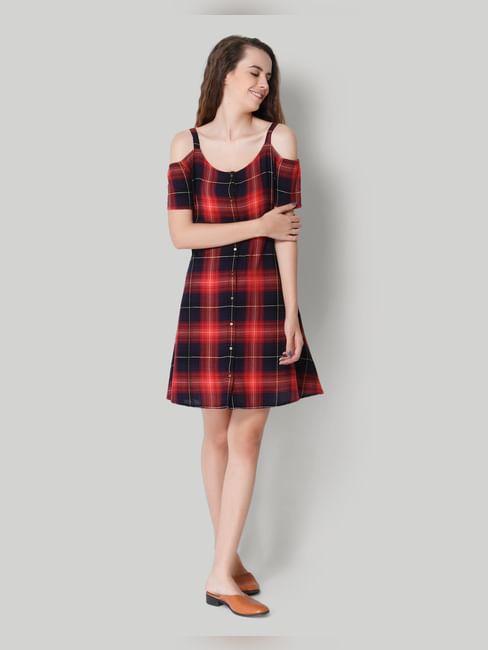 Red Checkered Cold Shoulder Skater Dress