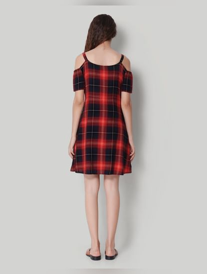 Red Checkered Cold Shoulder Skater Dress